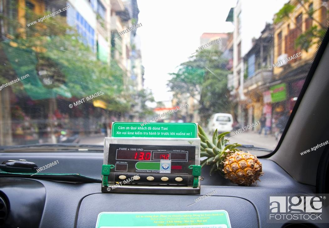 Stock Photo: Street View from Taxi Interior.