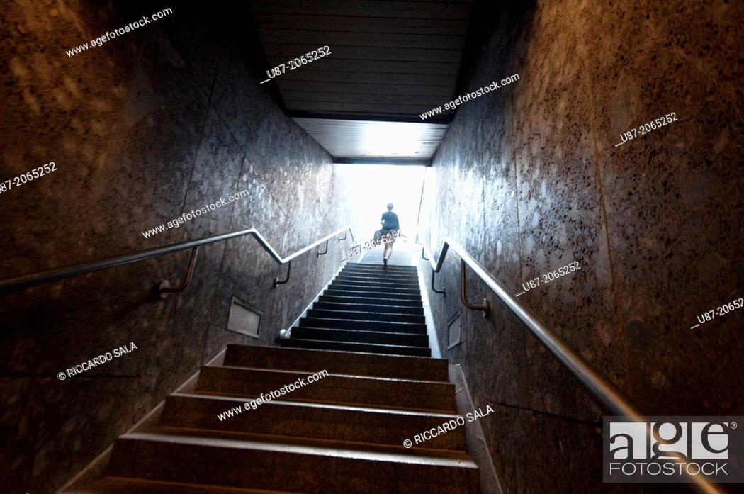 Photo de stock: Germany, Bavaria, Munich, Underground, Person Coming Out of the Metro.