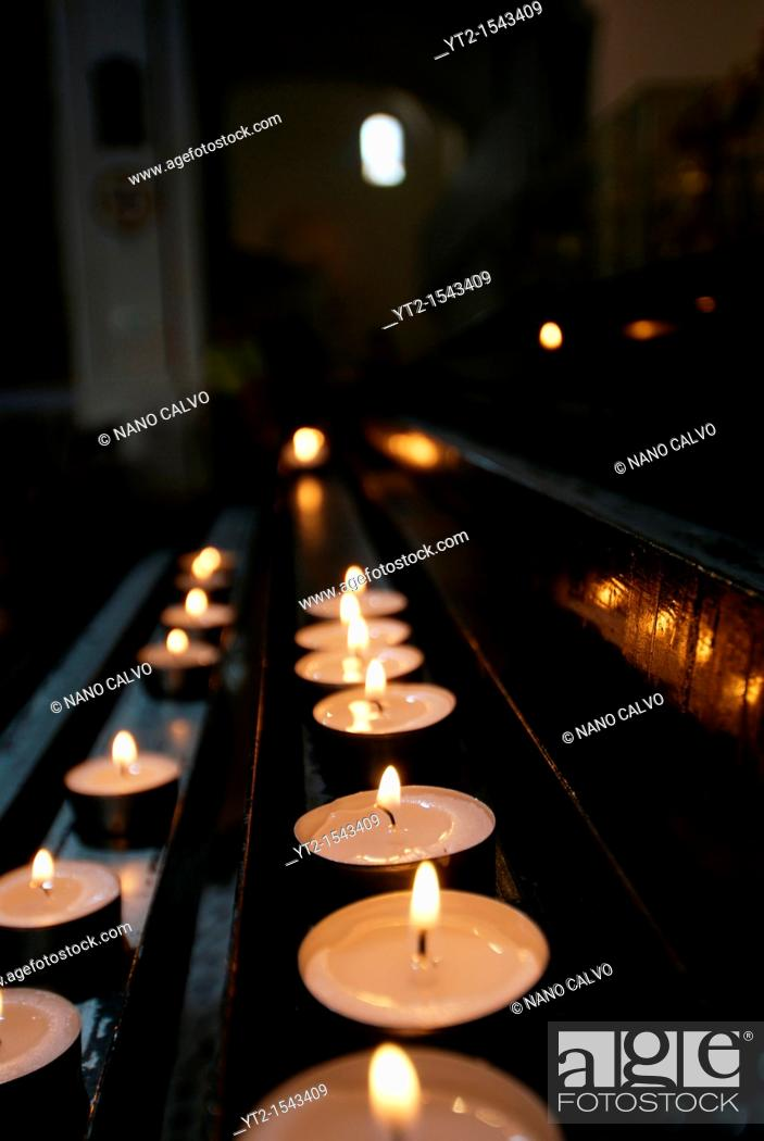 Stock Photo: Candles inside the Cathedral, Ibiza.
