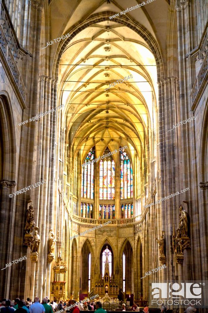 Stock Photo: Czech Republic - Prague - Hradcany Prague 1 District - The Palace - Saint-Guy Cathedral.