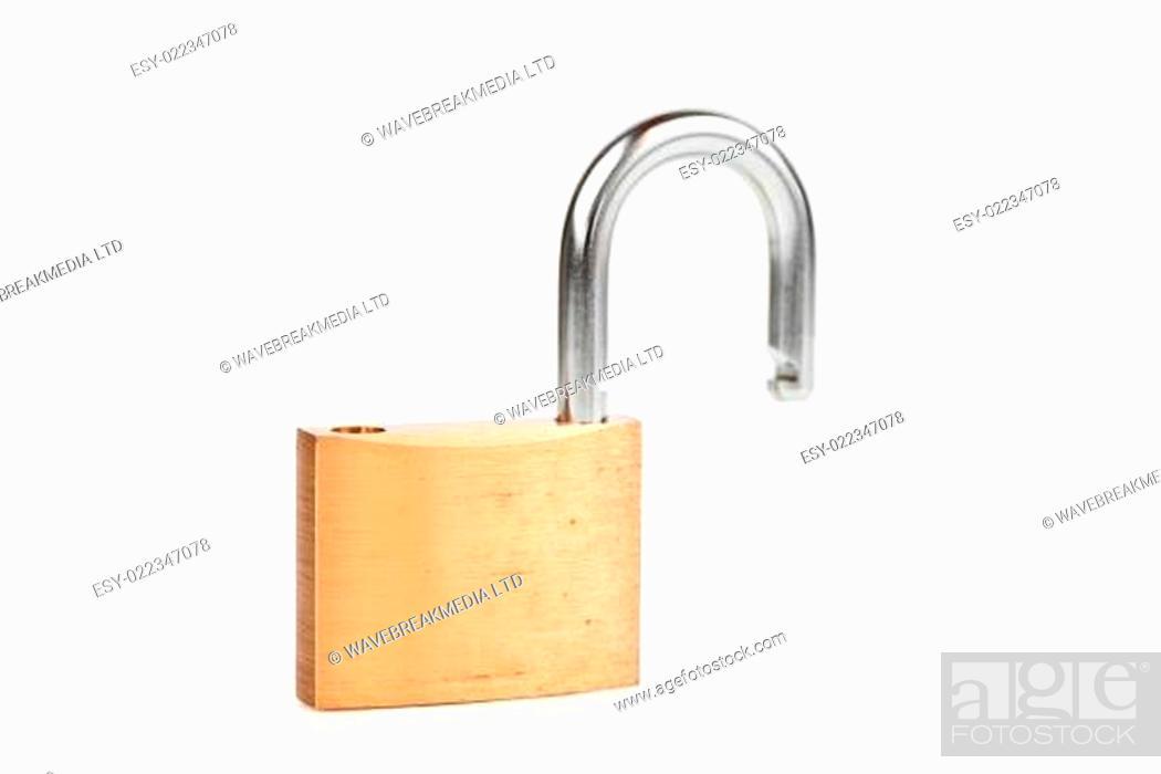 Photo de stock: Unlocked padlock against white background.