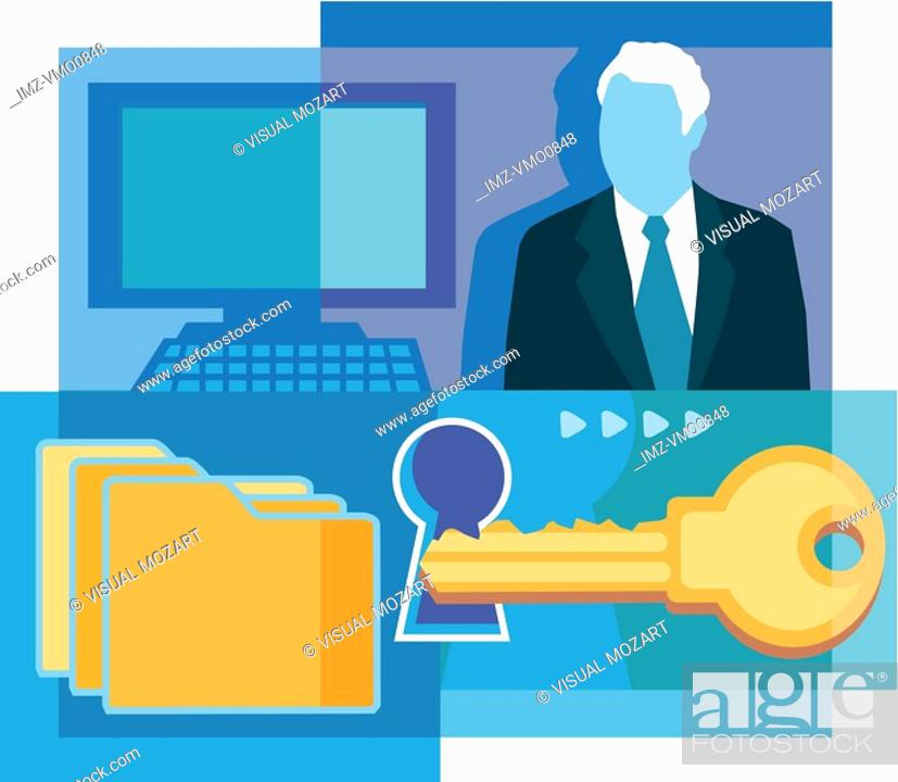 Stock Photo: A montage of a man in suit, a computer, a key, a keyhole, and folders.