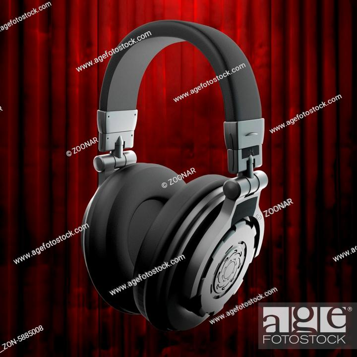 Stock Photo: headphones and red curtain.