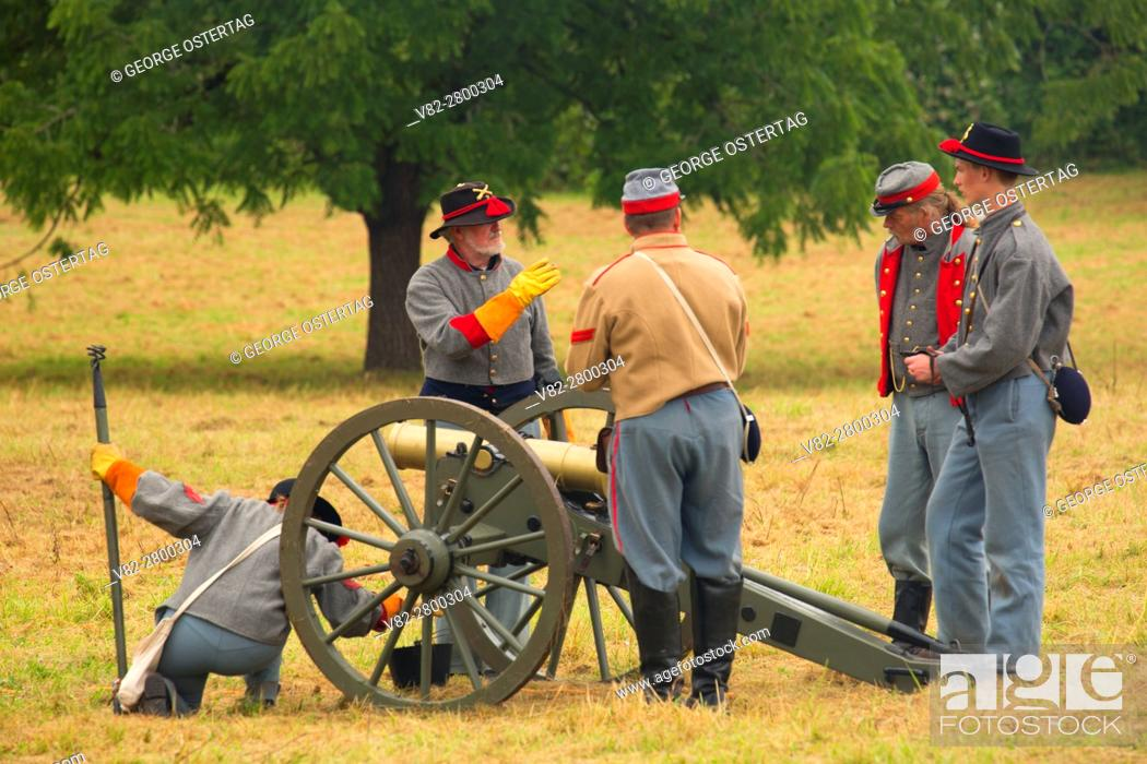 Stock Photo: Confederate cannon battery, Civil War Reenactment, Willamette Mission State Park, Oregon.