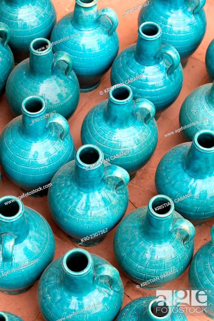 Stock Photo: Earthern jars in turquoise color on the floor of a shop, Yazd, Iran, Asia.