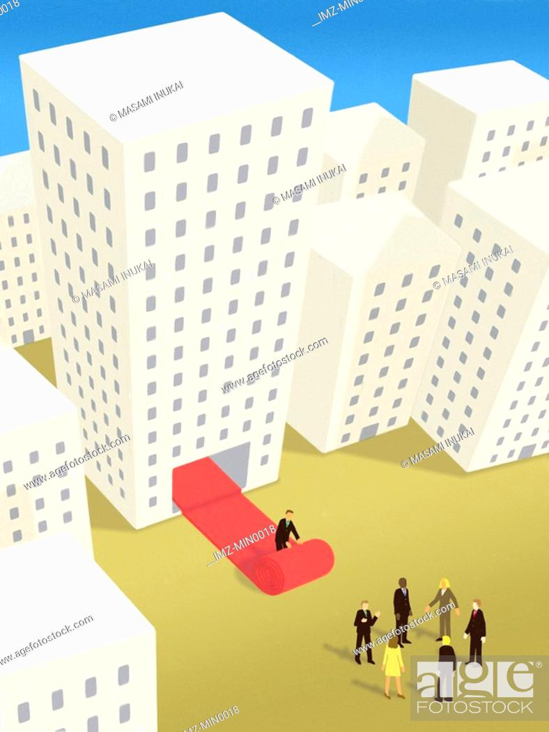 Stock Photo: A businessman rolling out the red carpet from inside a building for a group of business people outside.