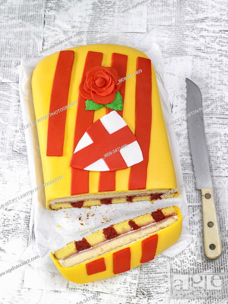 Stock Photo: pastel de sant jordi / Sant Jordi cake.
