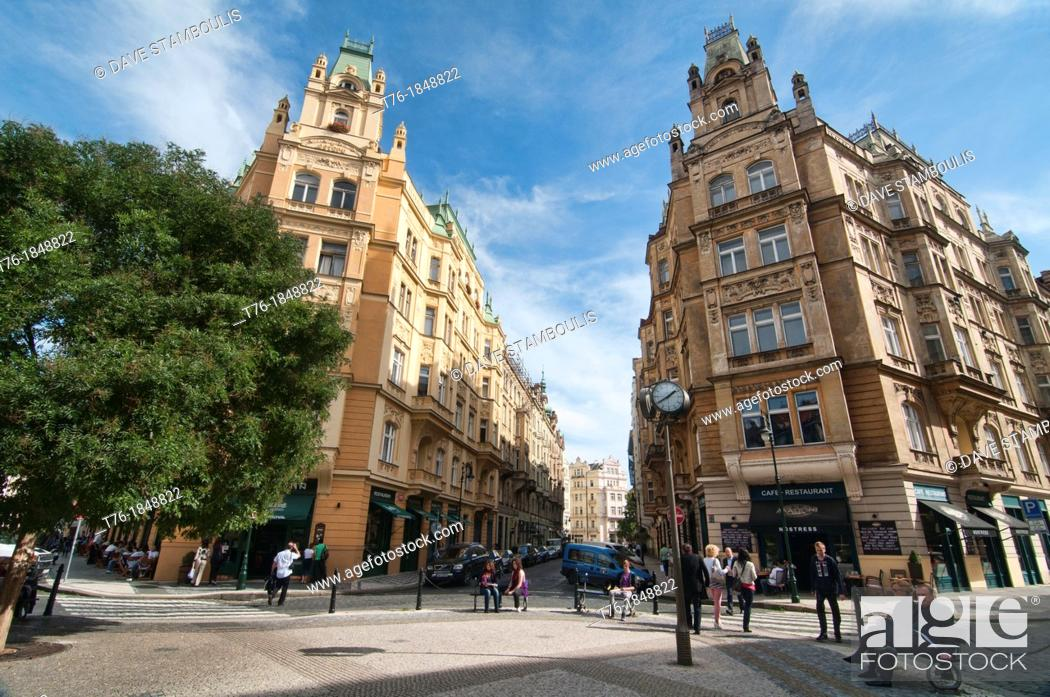 Stock Photo: architecture in the old town Stare Mesto, Prague, Czech Republic.