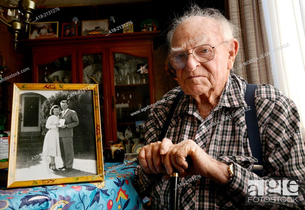 Stock Photo: A 93-year-old man at his home.
