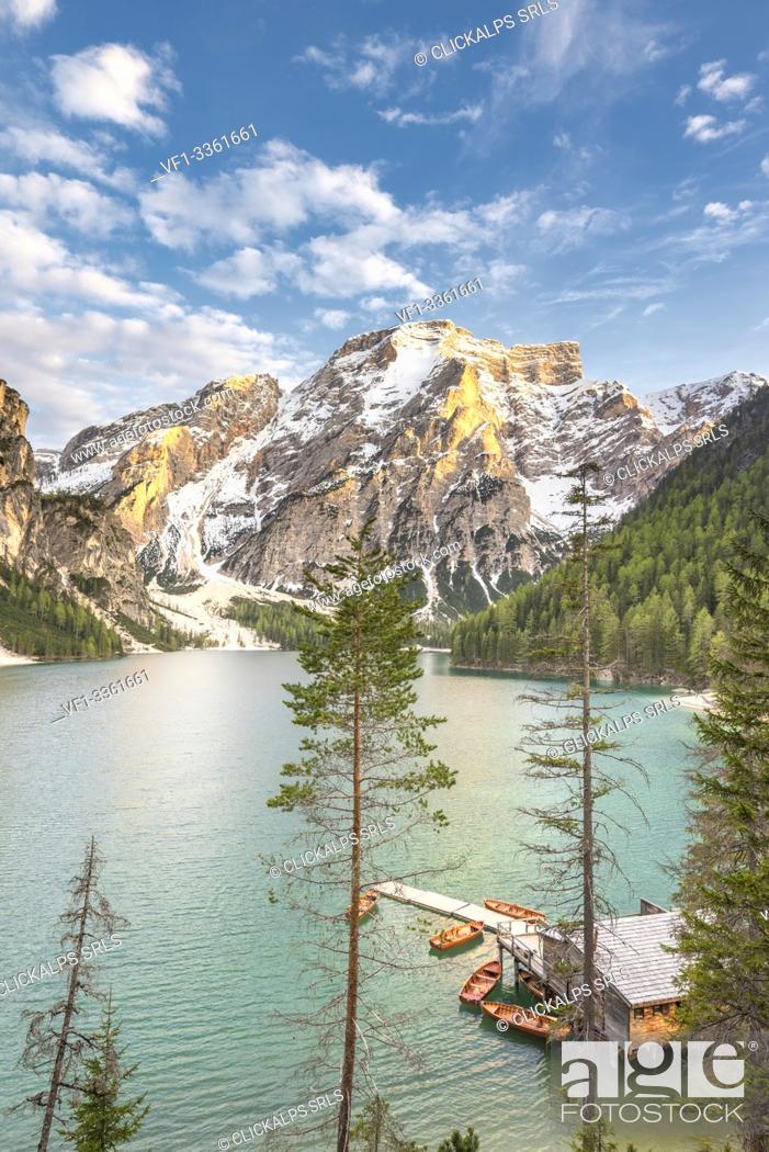 Stock Photo: Braies / Prags, Dolomites, South Tyrol, Italy. The Lake Braies / Pragser Wildsee at sunset.