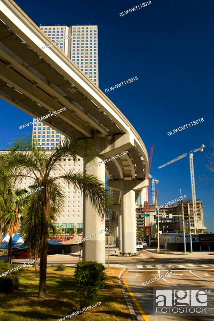 Stock Photo: Low angle view of an elevated road, Miami, Florida, USA.