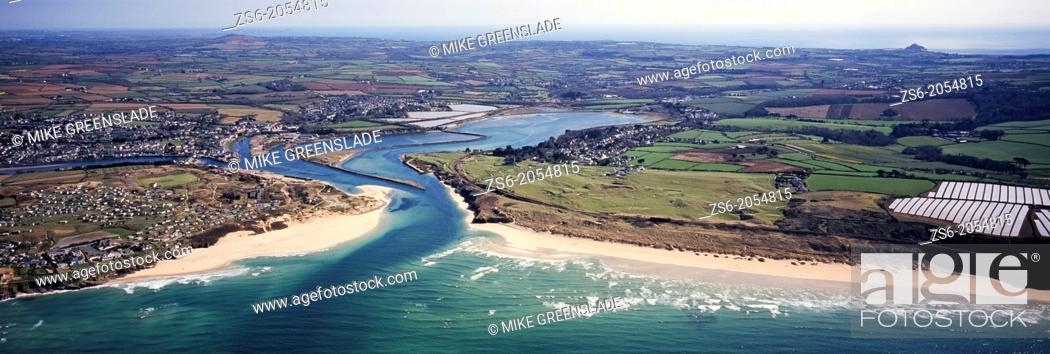 Stock Photo: Aerial of Hayle Estuary and St Ives Bay, Cornwall, UK.