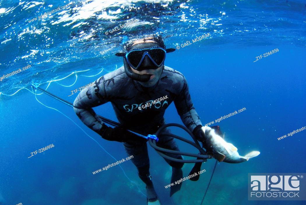Stock Photo: Spearfishing in Azores, Portugal.