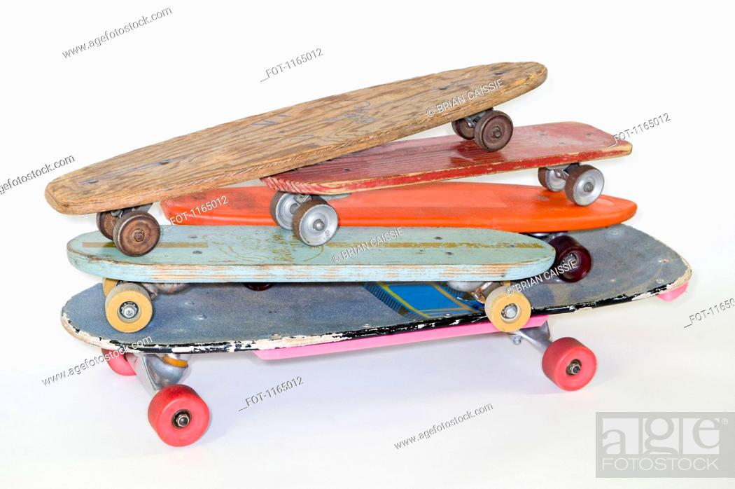 Stock Photo: A stack of skateboards.