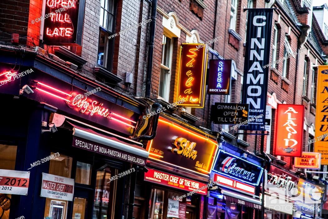 Stock Photo: Street view at Brick Lane, East London, London, UK.