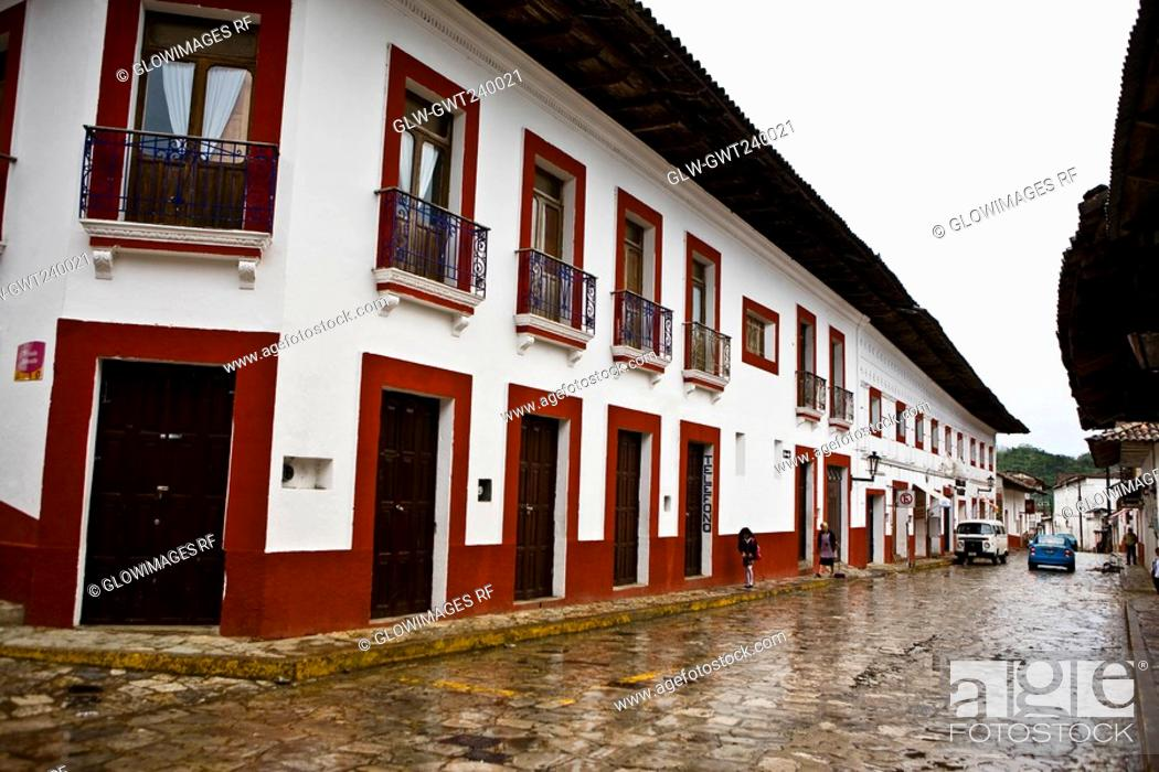 Stock Photo: Buildings in a street, Cuetzalan, Puebla State, Mexico.
