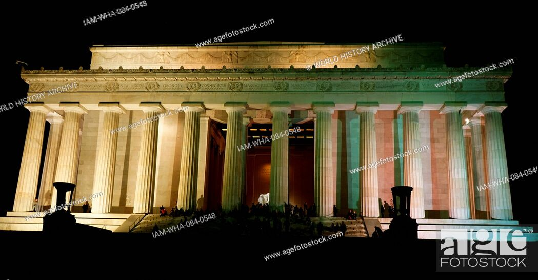 Stock Photo: Exterior of the Lincoln Memorial, an American national monument built to honour the 16th President of the United States, Abraham Lincoln, at night.