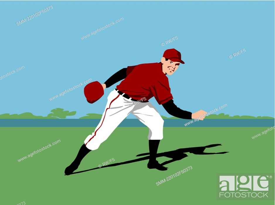 Stock Photo: Baseball pitcher player throwing a baseball.