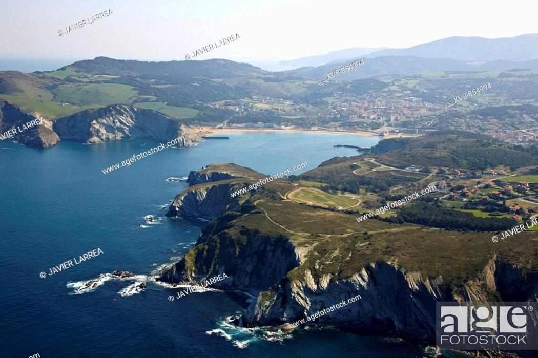 Stock Photo: Barrika, Plentzia in background, Biscay, Basque Country, Spain.