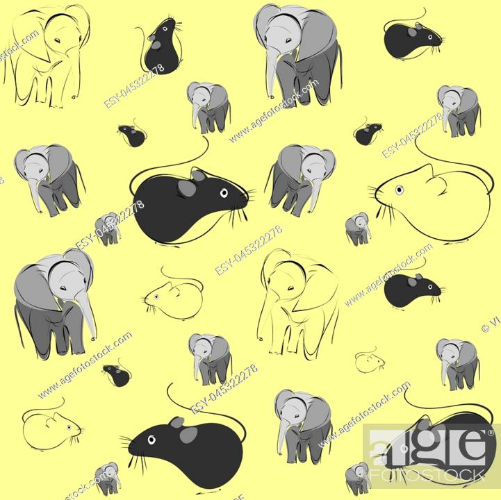 Stock Vector: pattern with mice and elephants on yellow background.