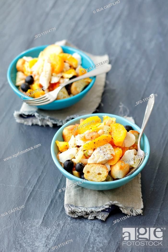 Stock Photo: Cod salad with white beans, oranges, olives, tomatoes and croutons.