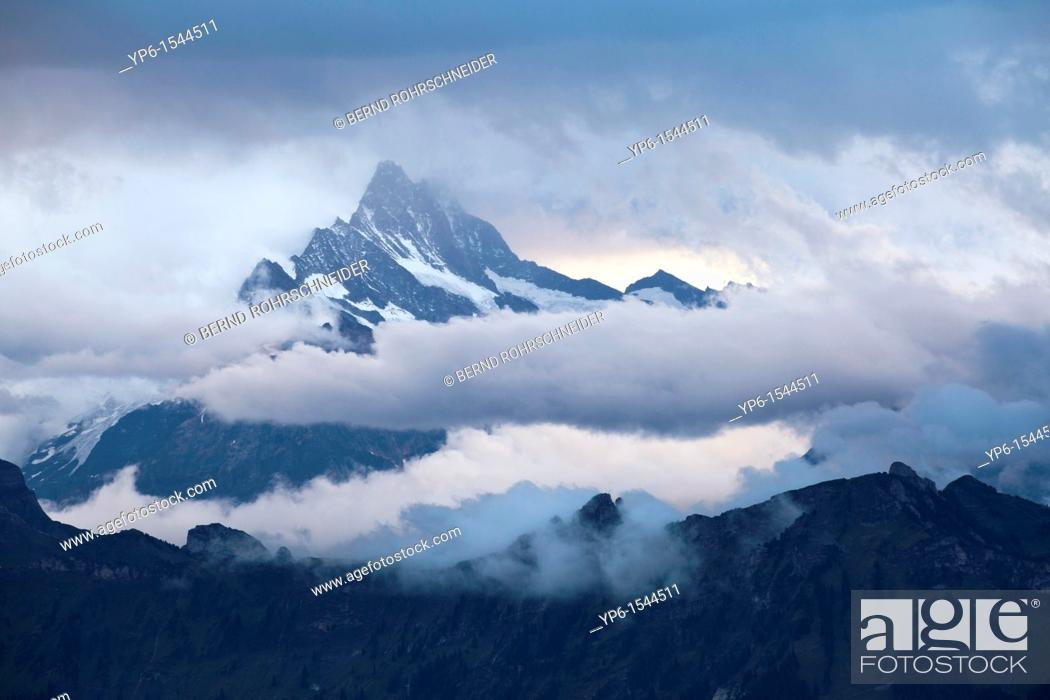 Stock Photo: landscape with mountains and clouds, Bernese Oberland, Switzerland.