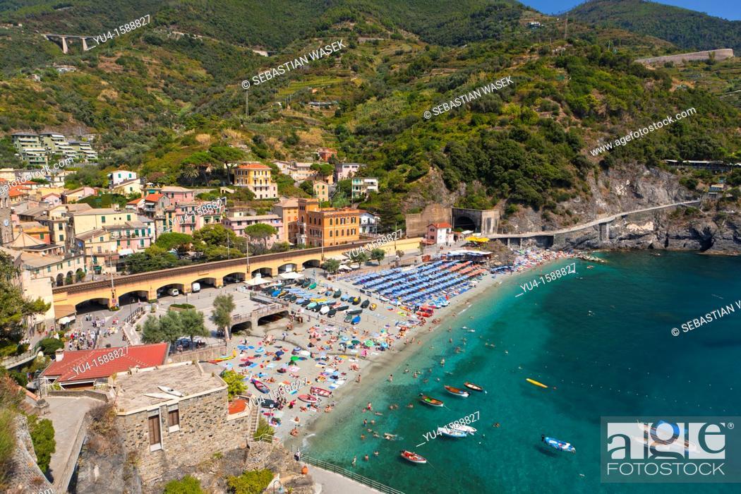 Stock Photo: Beach at Monterosso al Mare, Cinque Terre, Liguria, Italy, Europe.