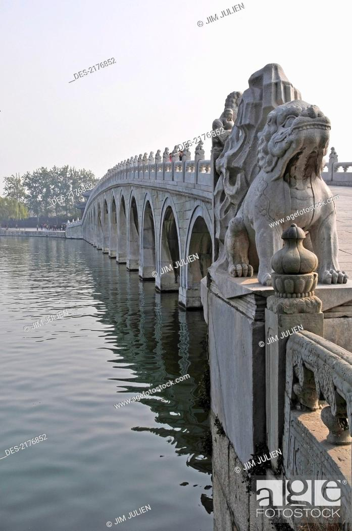 Stock Photo: Decorative Balusters And Sculptures On A Bridge Crossing The Water, Beijing China.