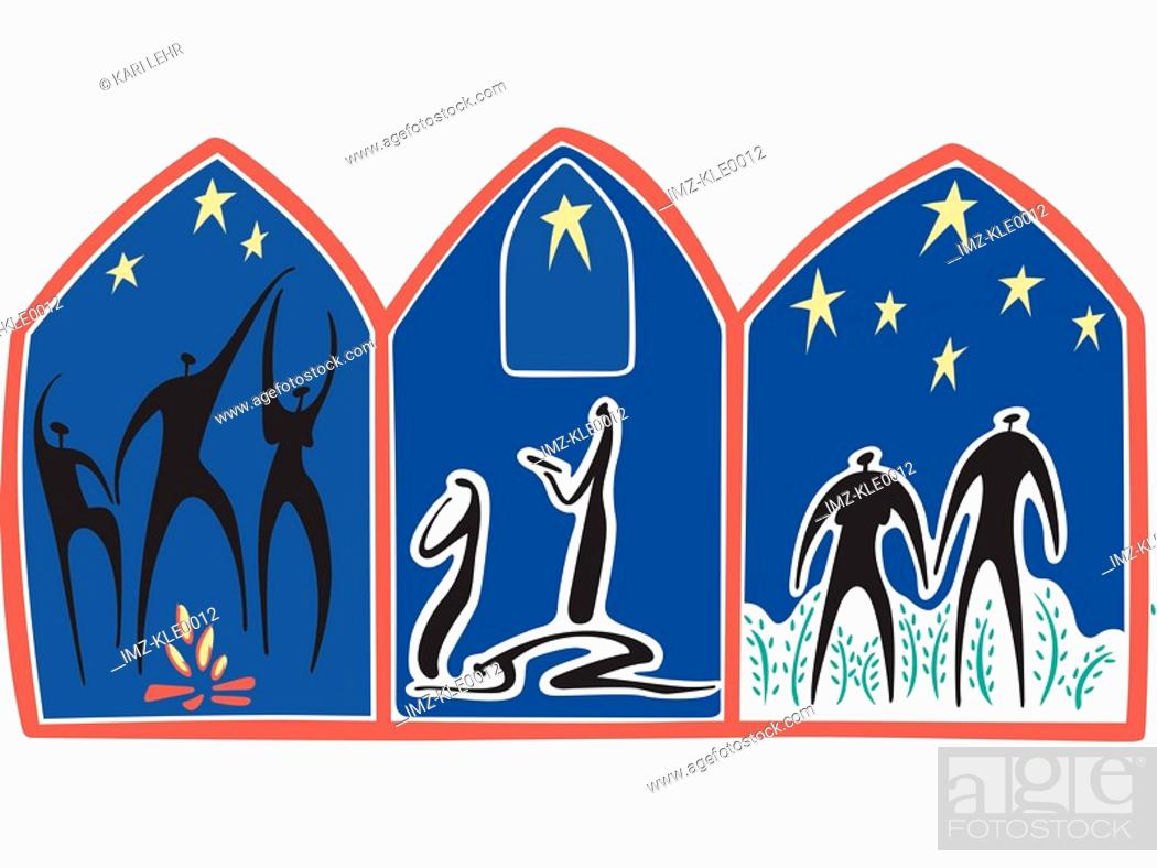 Stock Photo: A triptych of people of different religions and spirituality.