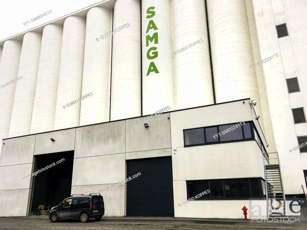 Stock Photo: Antwerp, Belgium. Samga Grane Silo at the America Dock inside Port of Antwerp. Grane Silo's are found in most, major ports.