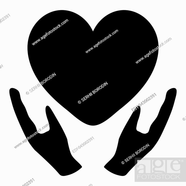 Stock Vector: Heart in care hand black color simple style.