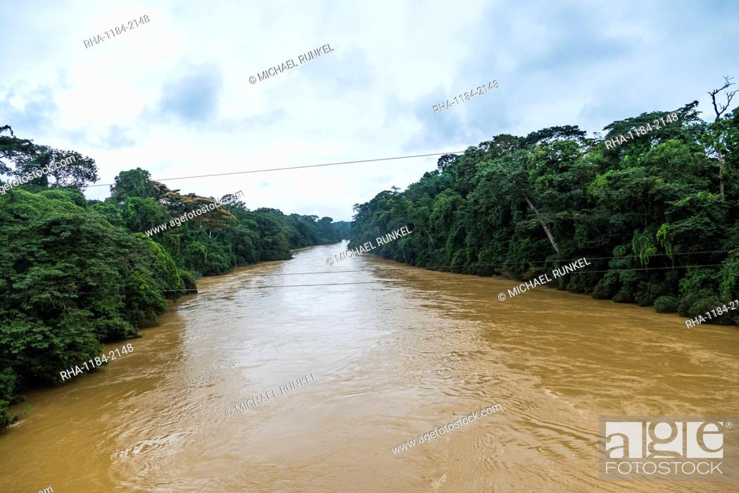 Stock Photo: Manyu River in the jungle of Southwest Cameroon, Africa.