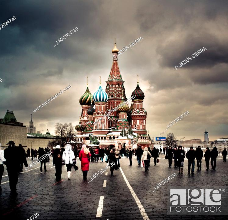 Stock Photo: View of the Orthodox Cathedral of St Basil in Red Square in Moscow, Russia.