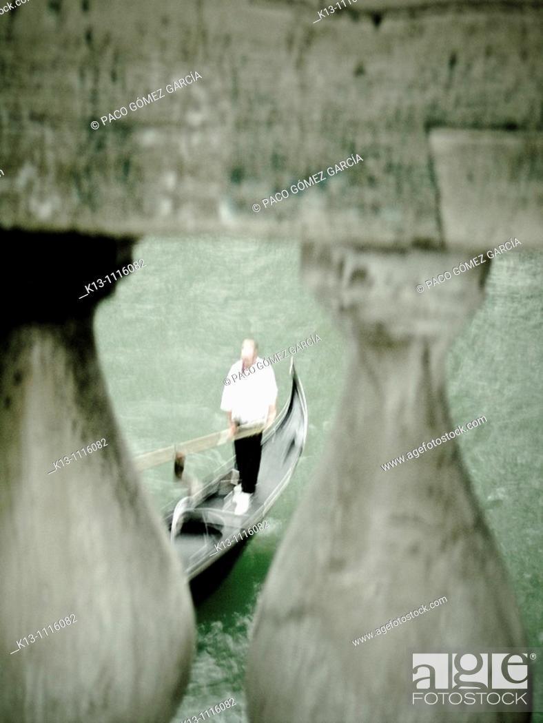 Stock Photo: Gondola seen from Rialto Bridge, Venice, Veneto, Italy.