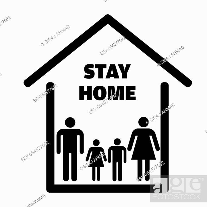 Stock Vector: Save Lives by Staying at Home quarantine coronavirus epidemic illustration Vector.