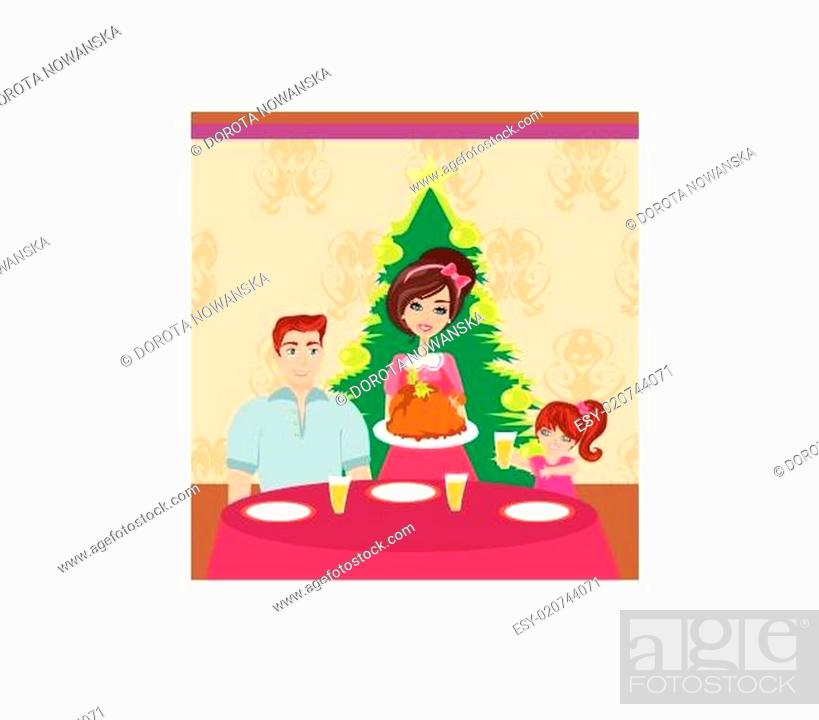 Stock Vector: Woman serving his family a turkey.