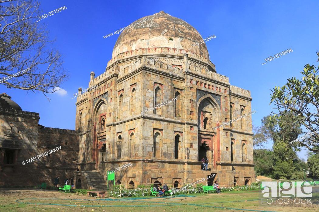 Stock Photo: Bara Gumbad, Lodhi Garden, New Delhi, India.