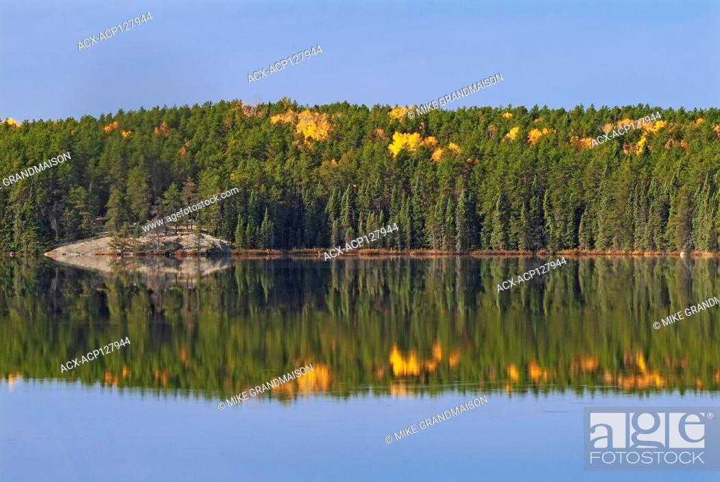 Stock Photo: Autumn on Graphic Lake Near Kenora Ontario Canada.