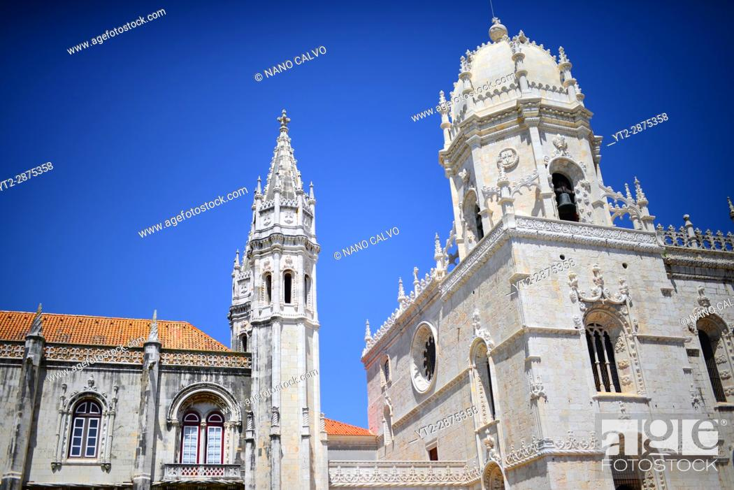 Stock Photo: The Jeronimos Monastery or Hieronymites Monastery (The Mosteiro dos Jeronimos), a former monastery of the Order of Saint Jerome near the Tagus river in the.