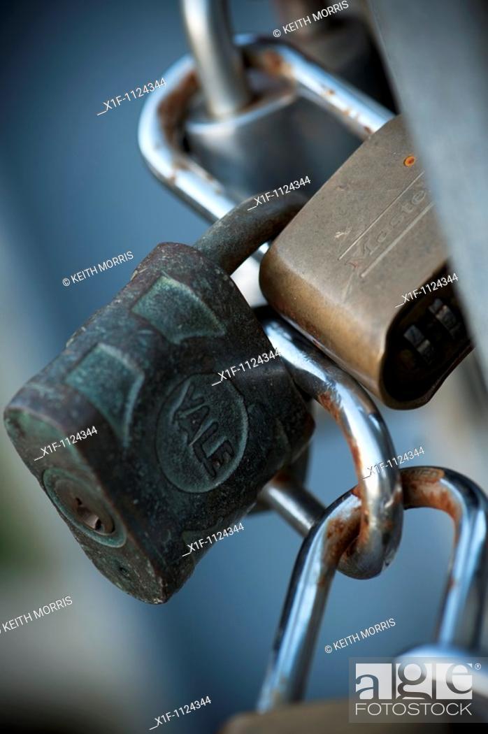 Stock Photo: Interlocked Padlocks.