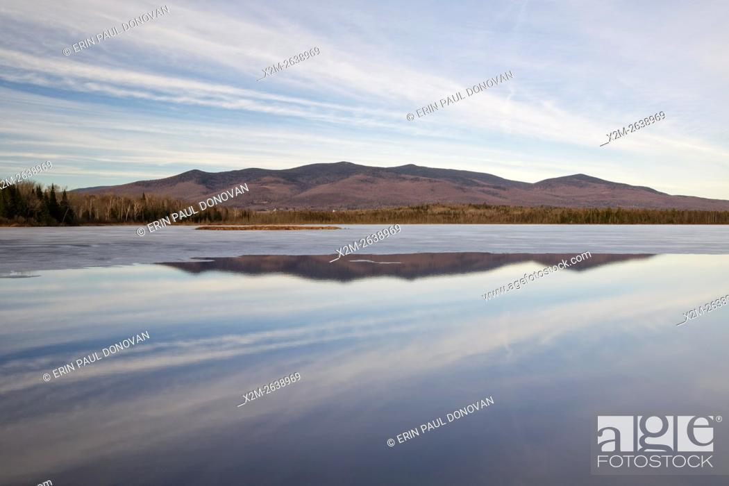 Stock Photo: Scenic view from Cherry Pond at Pondicherry Wildlife Refuge in Jefferson, New Hampshire USA during the winter months. The Cohos Trail passes by Cherry Pond.