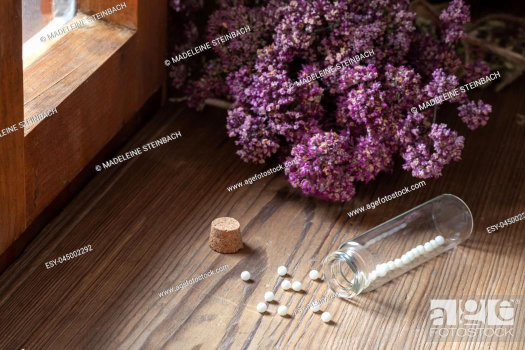 Stock Photo: A bottle of homeopathic globules with dried herbs next to a window.