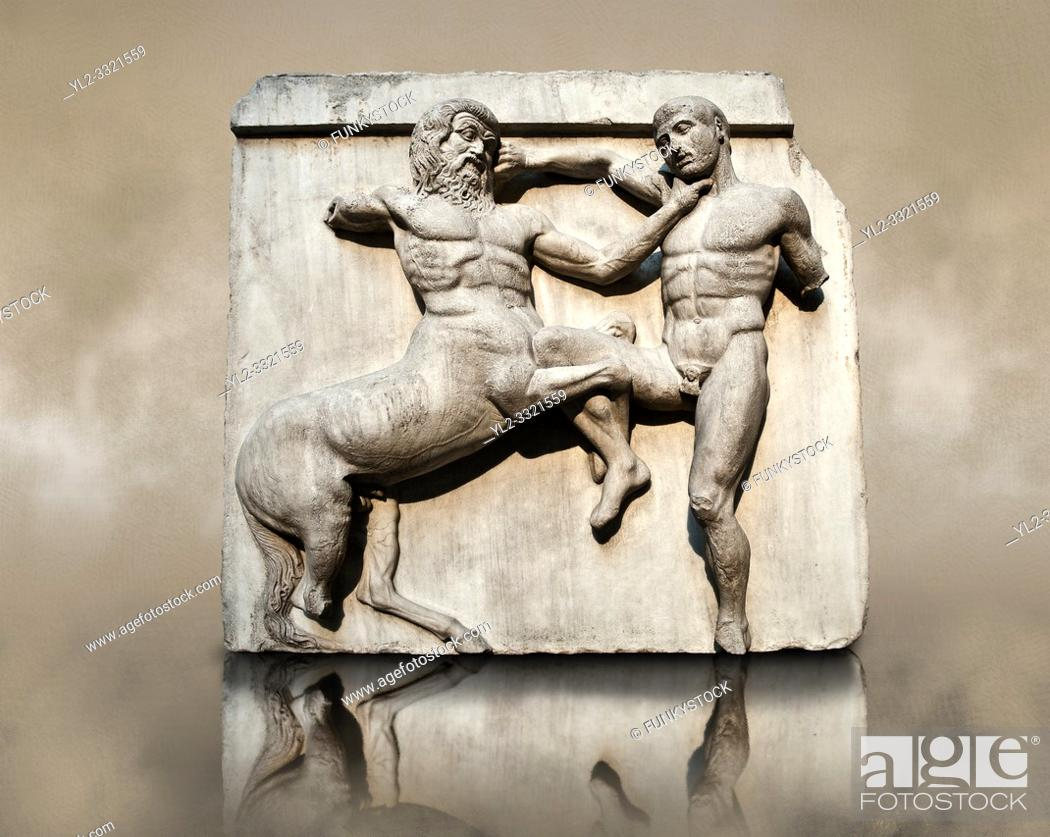 Imagen: Sculpture of Lapiths and Centaurs battling from the south east corner Metope of the Parthenon on the Acropolis of Athens no XXXII.