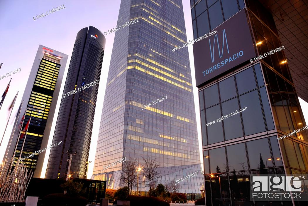 Stock Photo: Four towers Business area of Madrid north, Spain.