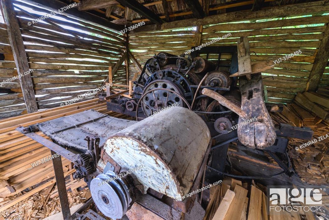 Stock Photo: Antique carpenter machine in Oas Village Museum located in Negresti-Oas town in the county of Satu Mare in northwestern Romania.