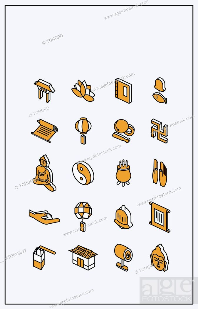 Imagen: Icons related to Buddhism.