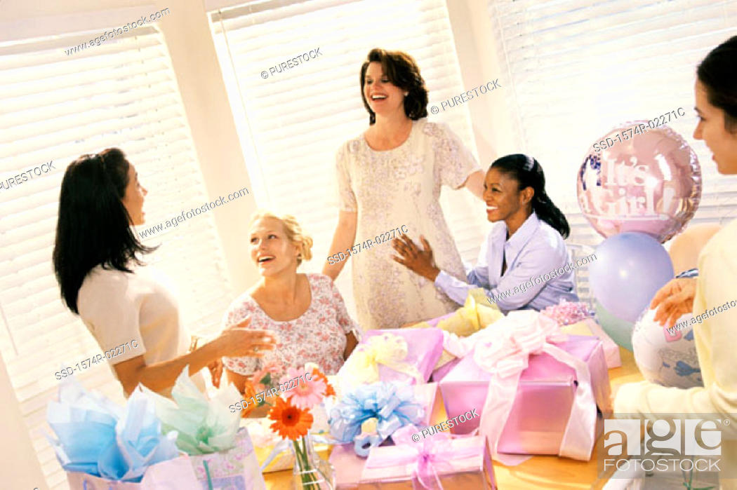 Stock Photo: Group of young women at a baby shower.