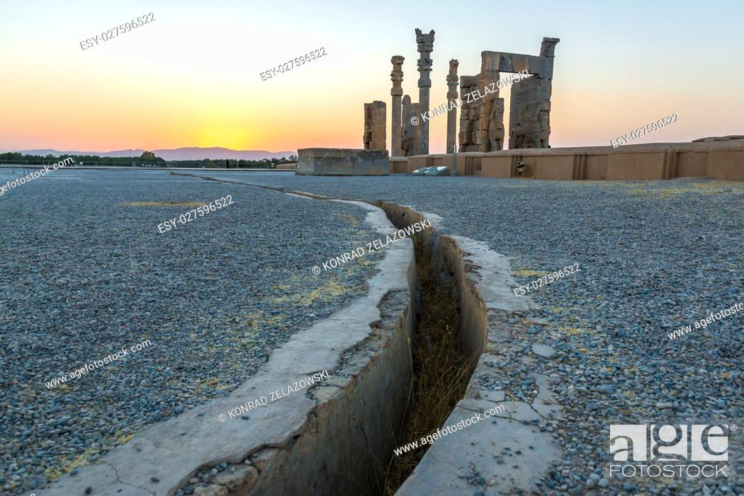 Stock Photo: drainage channel and Gate of All Nations in Persepolis ancient city in Iran.