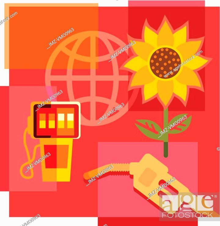 Stock Photo: Montage illustration about biofuel containing sunflower, gas pump and globe.