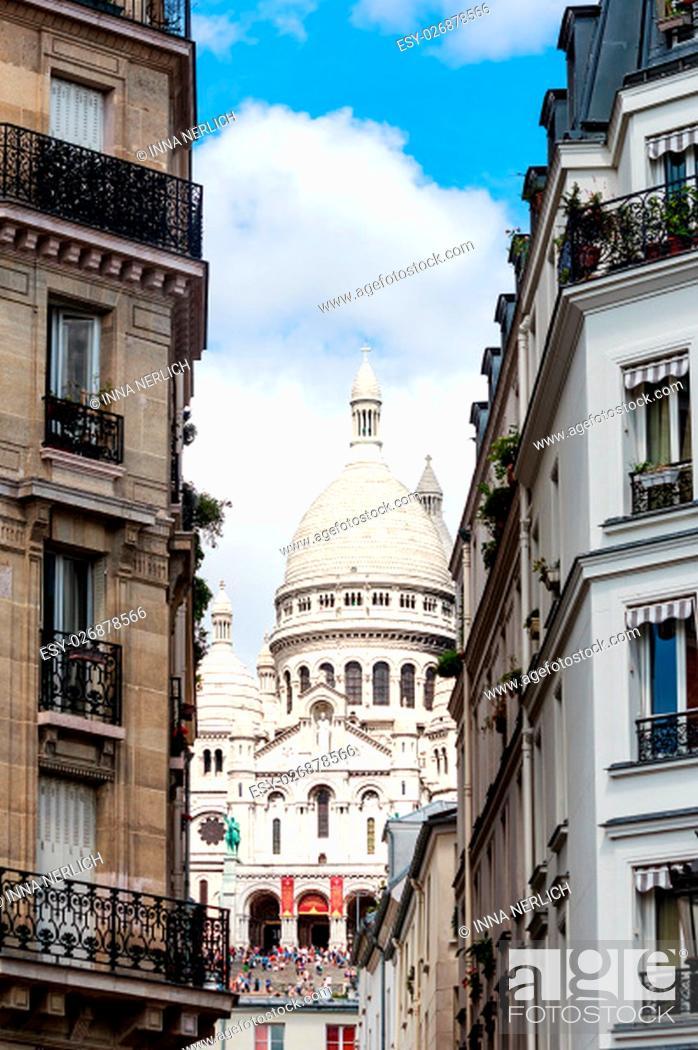 Stock Photo: paris - sacre coeur on the hill of montmartre.